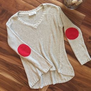 Stitch Fix RD Style hi-low tan sweater red patches